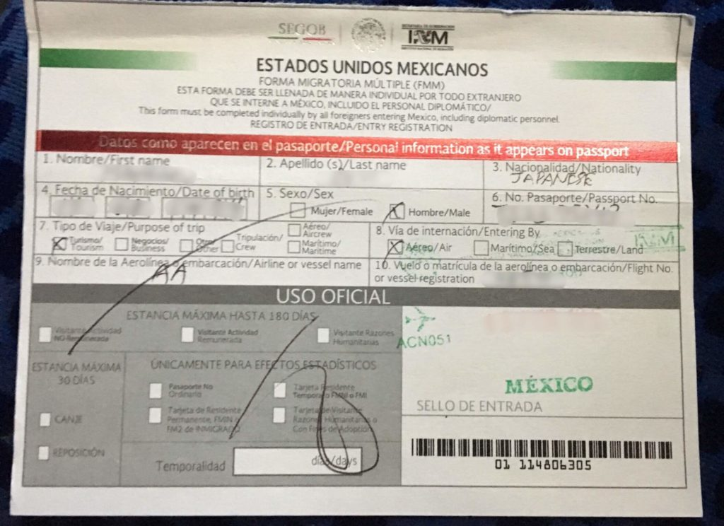 Immigration Form of Mexico