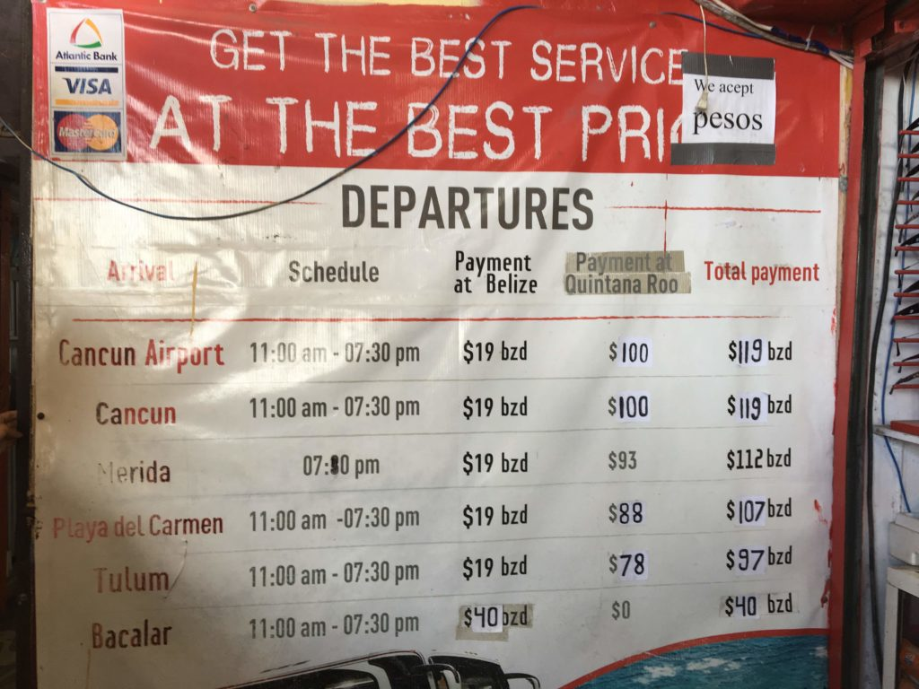 Time table and price of ADO from Belize City